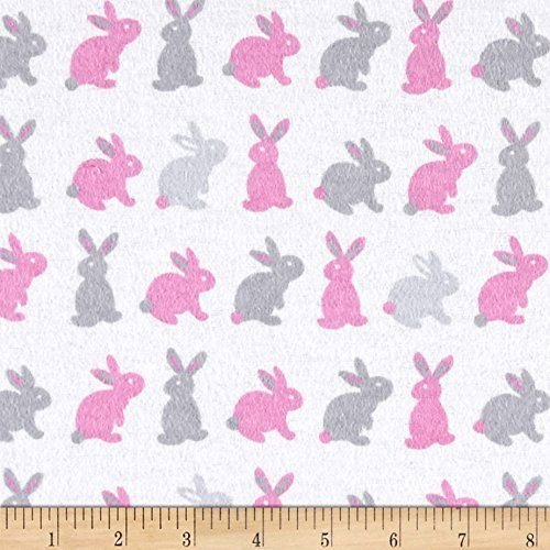 Cute Bunny Pink/Grey FLANNEL