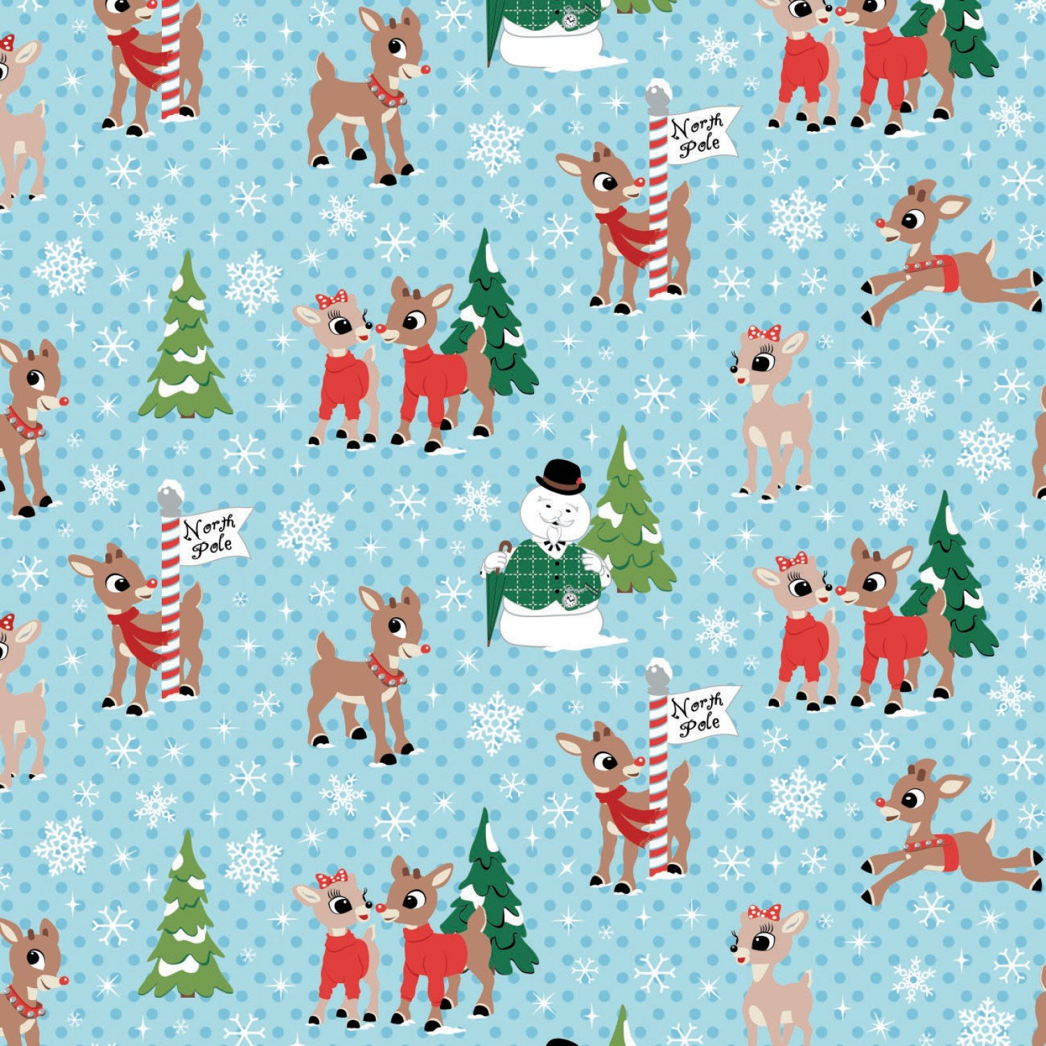 Christmas Rudolph & Friends North Pole Blue