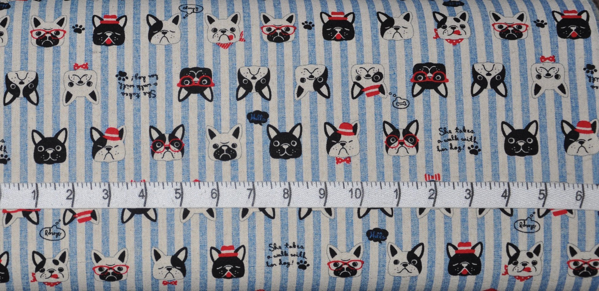 Cosmo. French Bulldogs Blue Stripe Cotton Linen