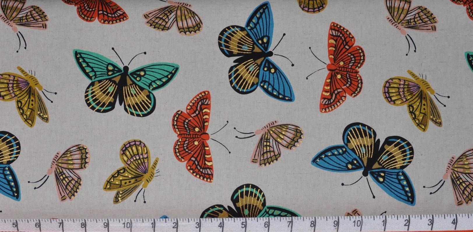 Cotton & Steel. English Garden. Monarch Metallic Natural Cotton/Linen