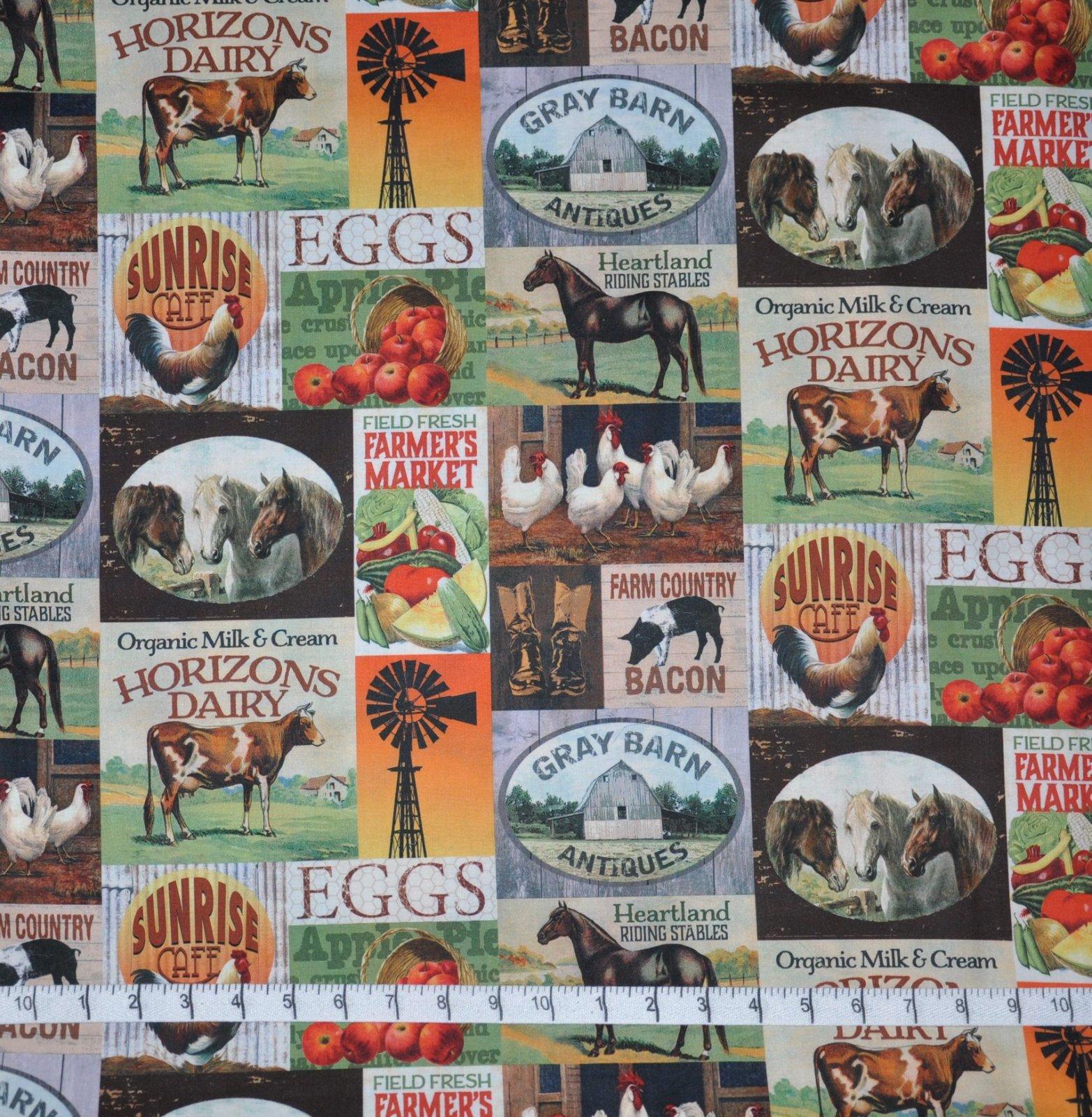 David Textiles. Heartland Farms Brown DIGITALLY PRINTED