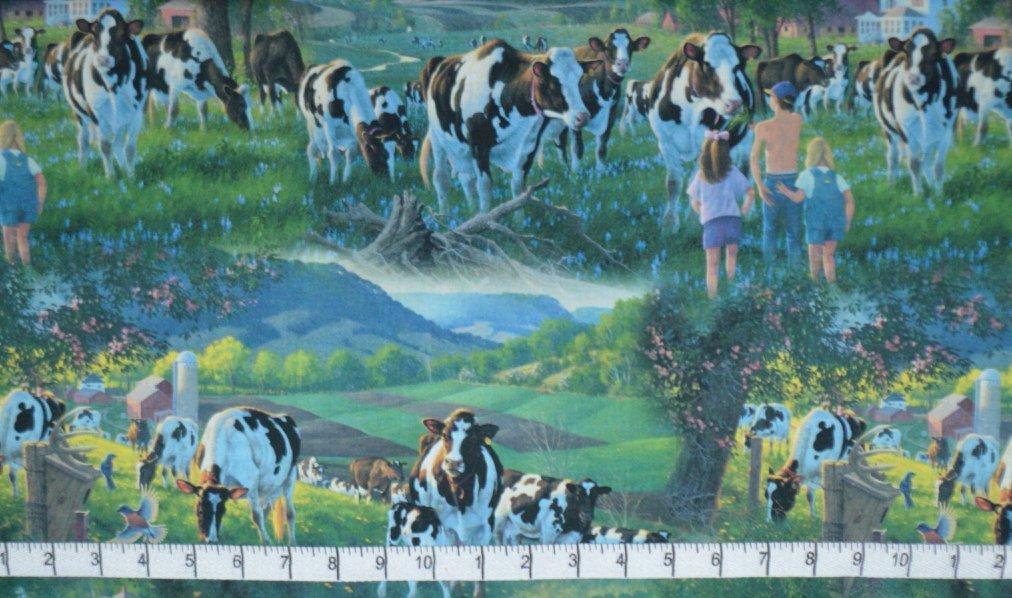 Little Farm. Cows in the Sun DIGITALLY PRINTED