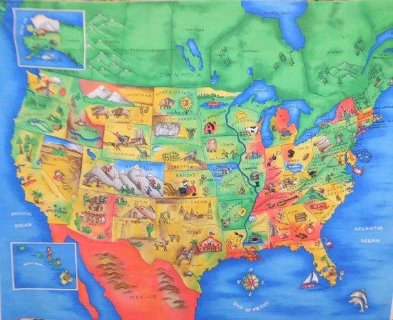 Fabric Traditions USA Map Panel Full Yard