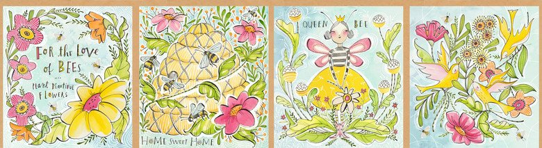 For the Love of Bees. Honey Bee Panel 1/3 yd