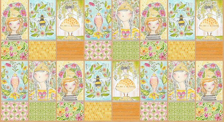 For the Love of Bees. Sweet Moments Panel 2/3 yd