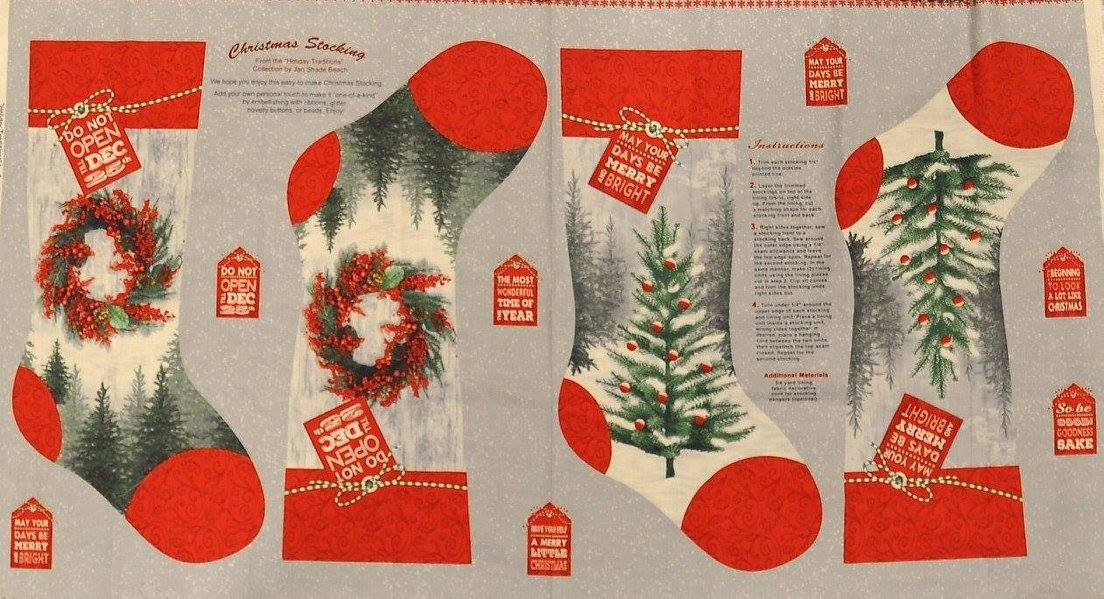 Henry Glass. Holiday Traditions Stocking Panel 2/3 yd
