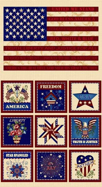 Henry Glass. Patriotic Primer Panel 2/3 yd Repeat