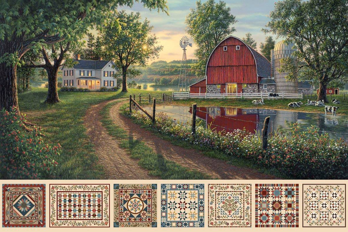 Heritage Quilting. The Road Home. Farm Scene with Barn. Digitally Printed 28 inch Panel