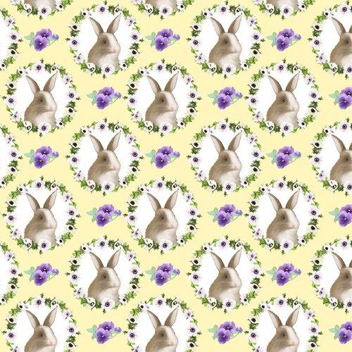 Hoppy Easter. Bunny Faces Yellow