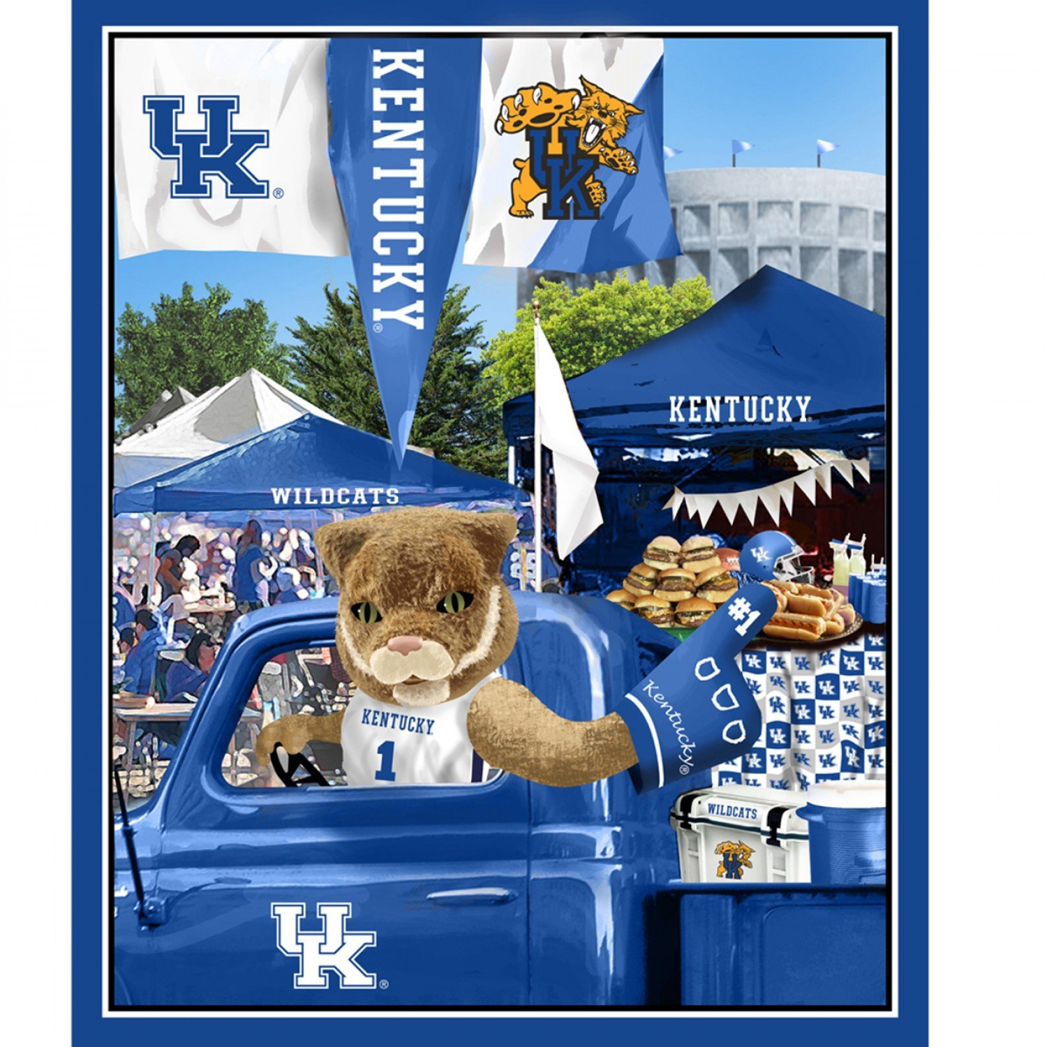 NCAA Kentucky Wildcats Tailgate Panel 36 inch Digitally Printed