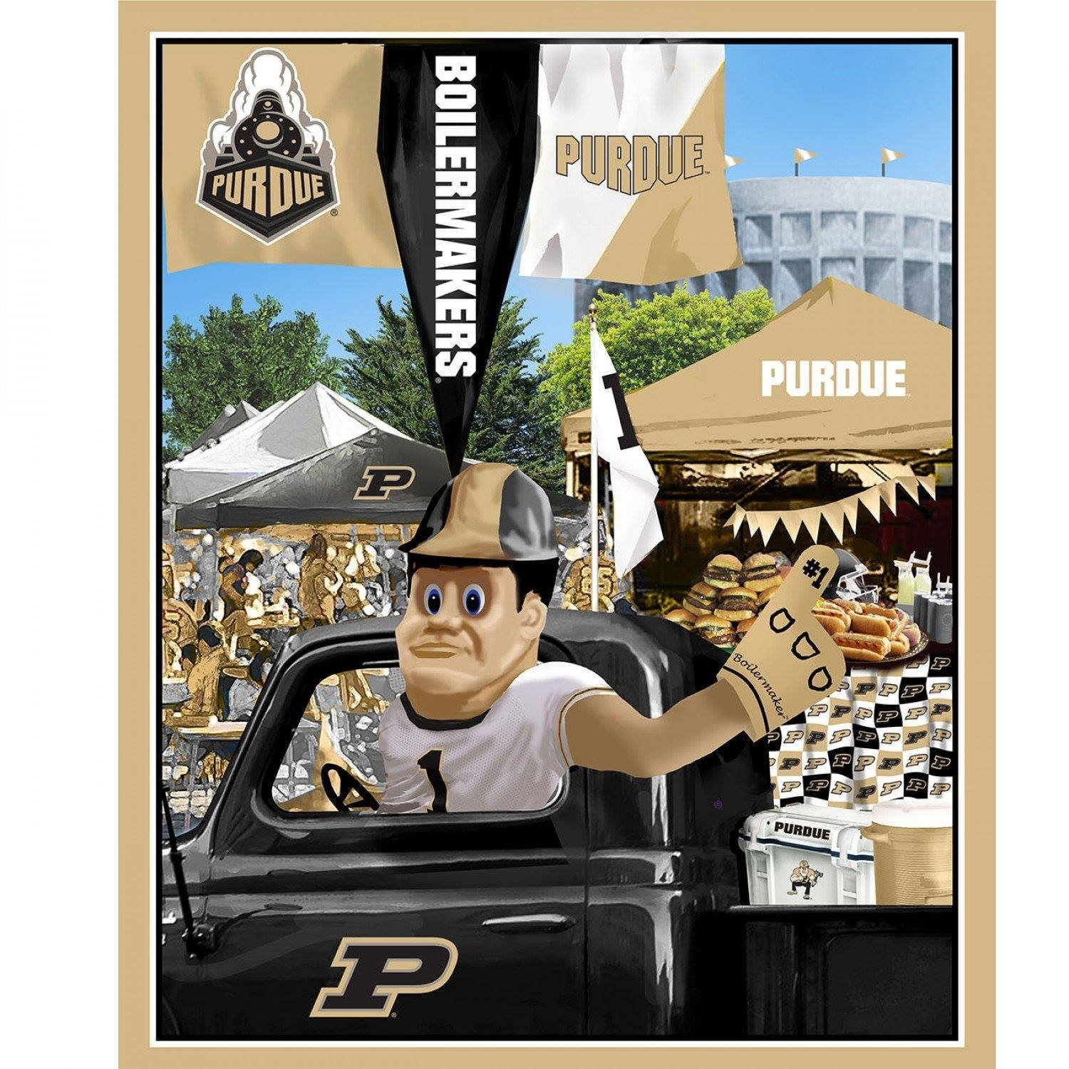 NCAA Purdue Boilermakers Tailgate Panel 36 inch Digitally Printed