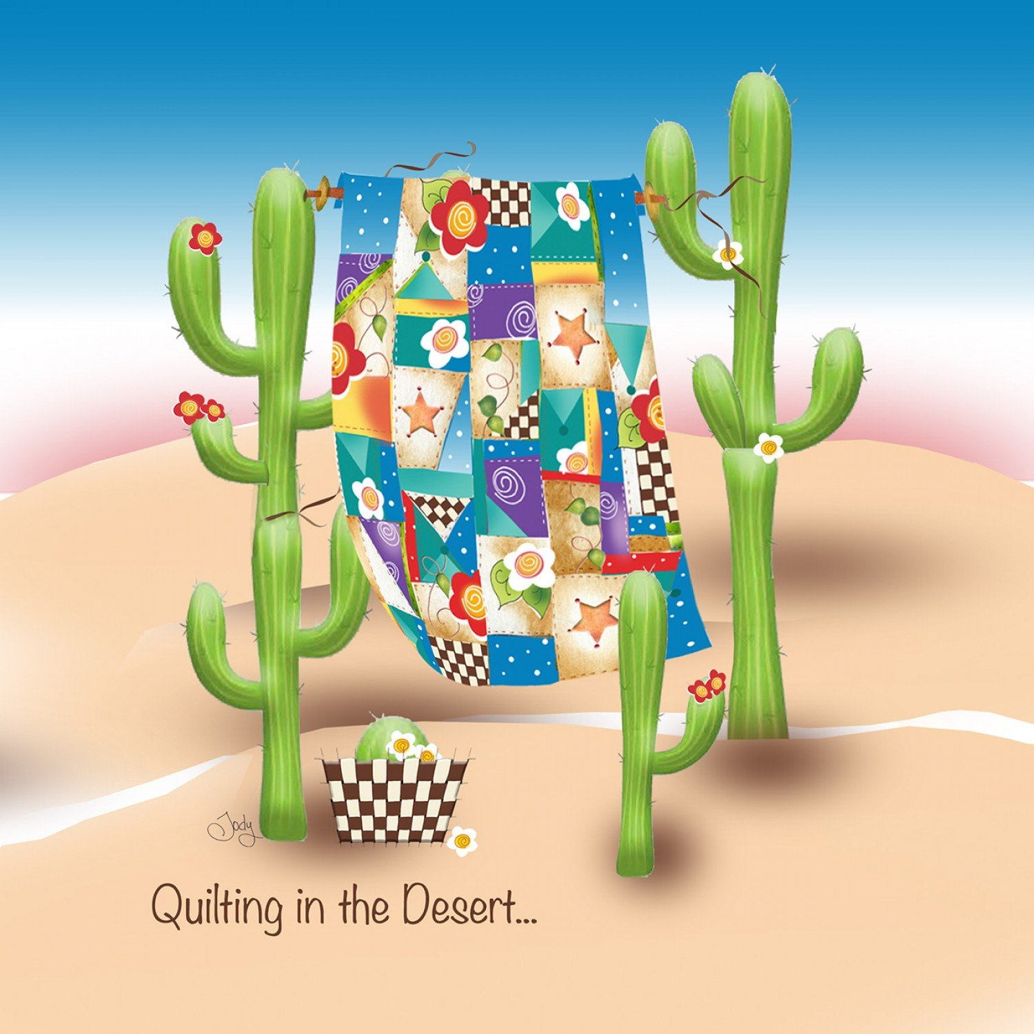 Quilting in the Desert Fabric Art Panel 7 1/2 square