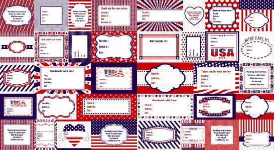 Red, White & Starry Blue. Quilt Label Pattern 2/3yd