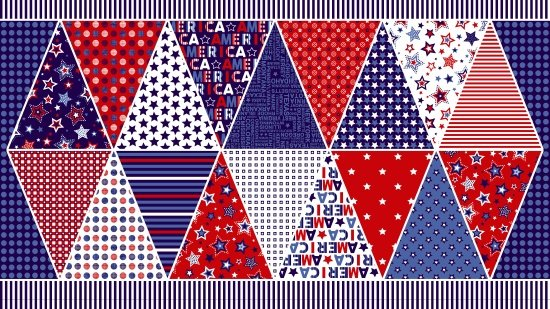 Red, White & Starry Blue. Pennant Banner 2/3yd