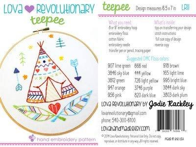 Teepee Hand Embroidery Pattern