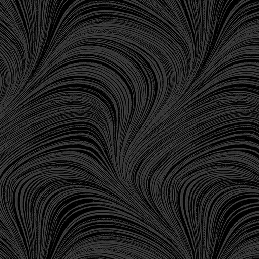 Wave Texture. Wide Quilt Back Black - 108 Inch
