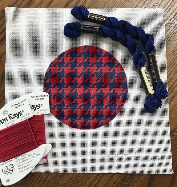 Blue and Red Houndstooth Coaster Kit