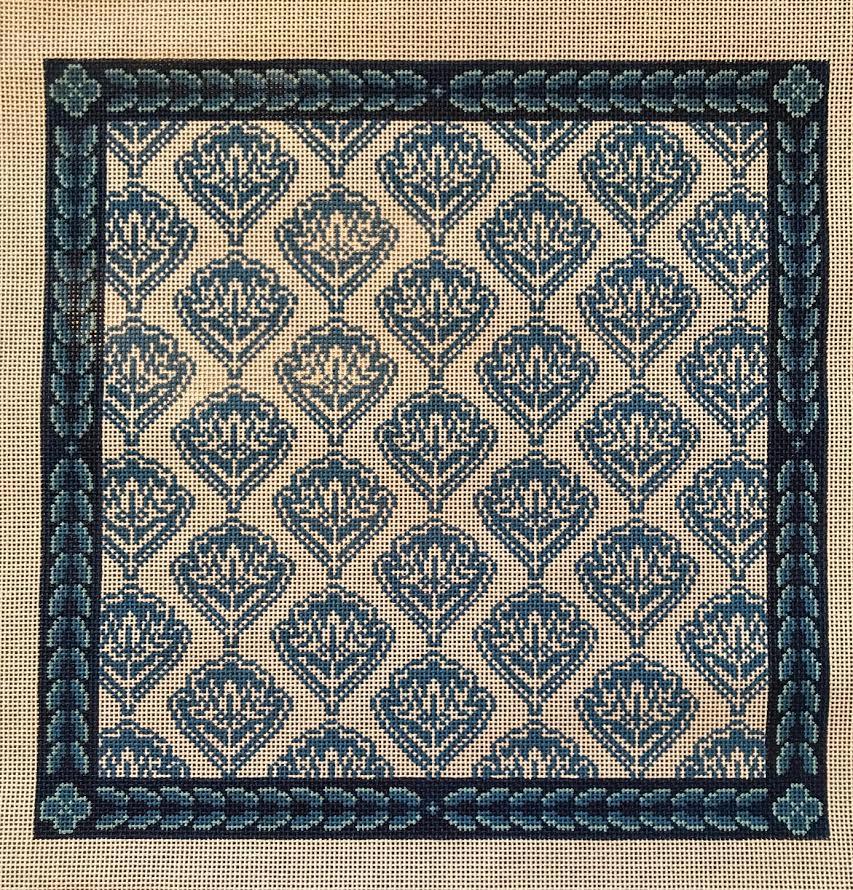 Blue Medallion Floral Pillow
