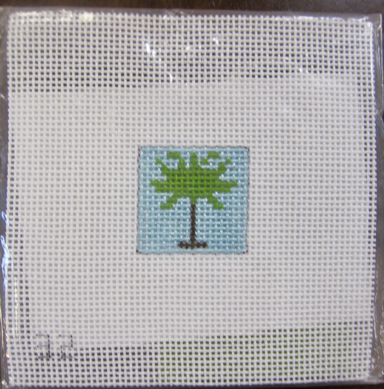 Palm Tree/Self-finishing Silver Key Chain