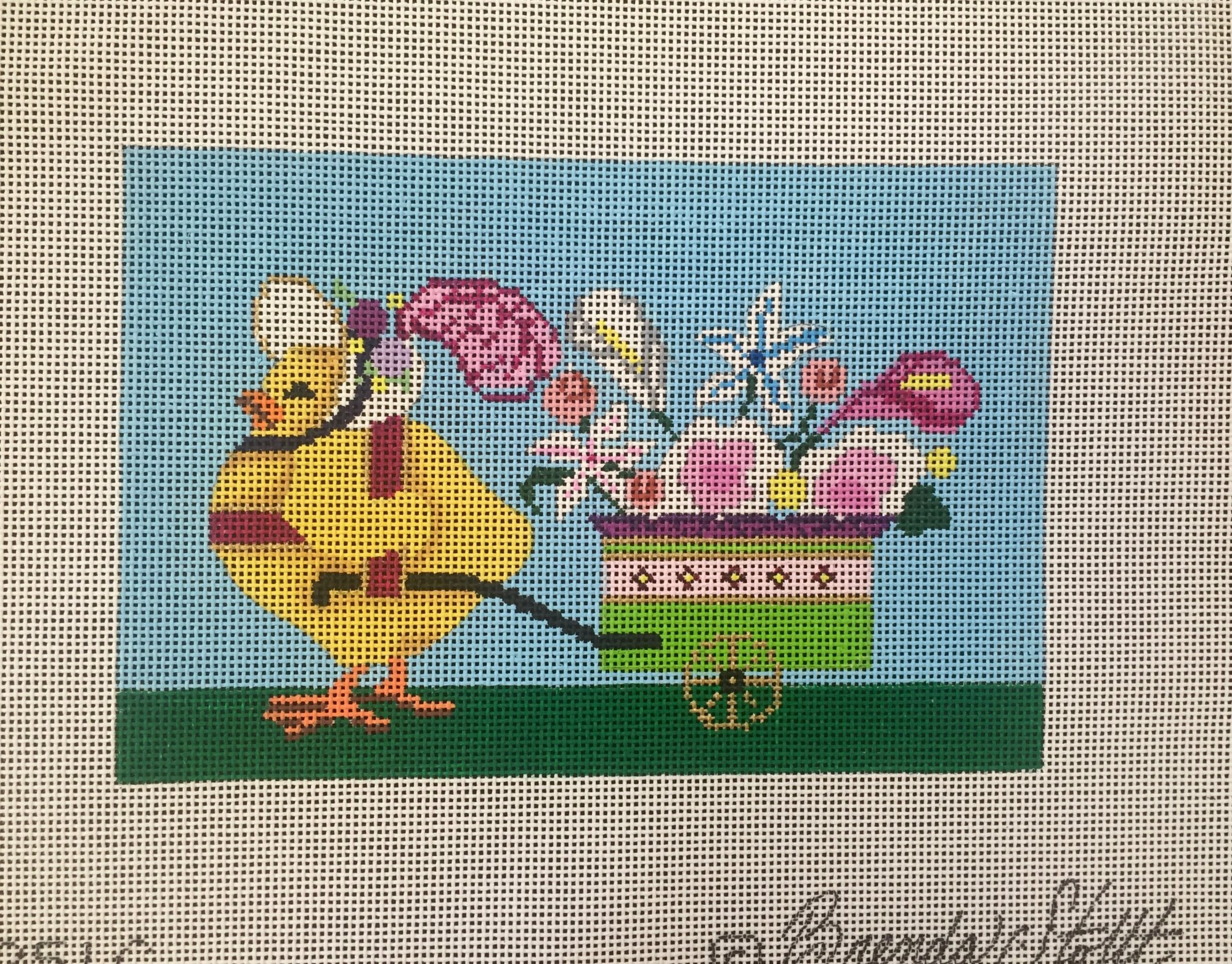 Chick pulling flower cart