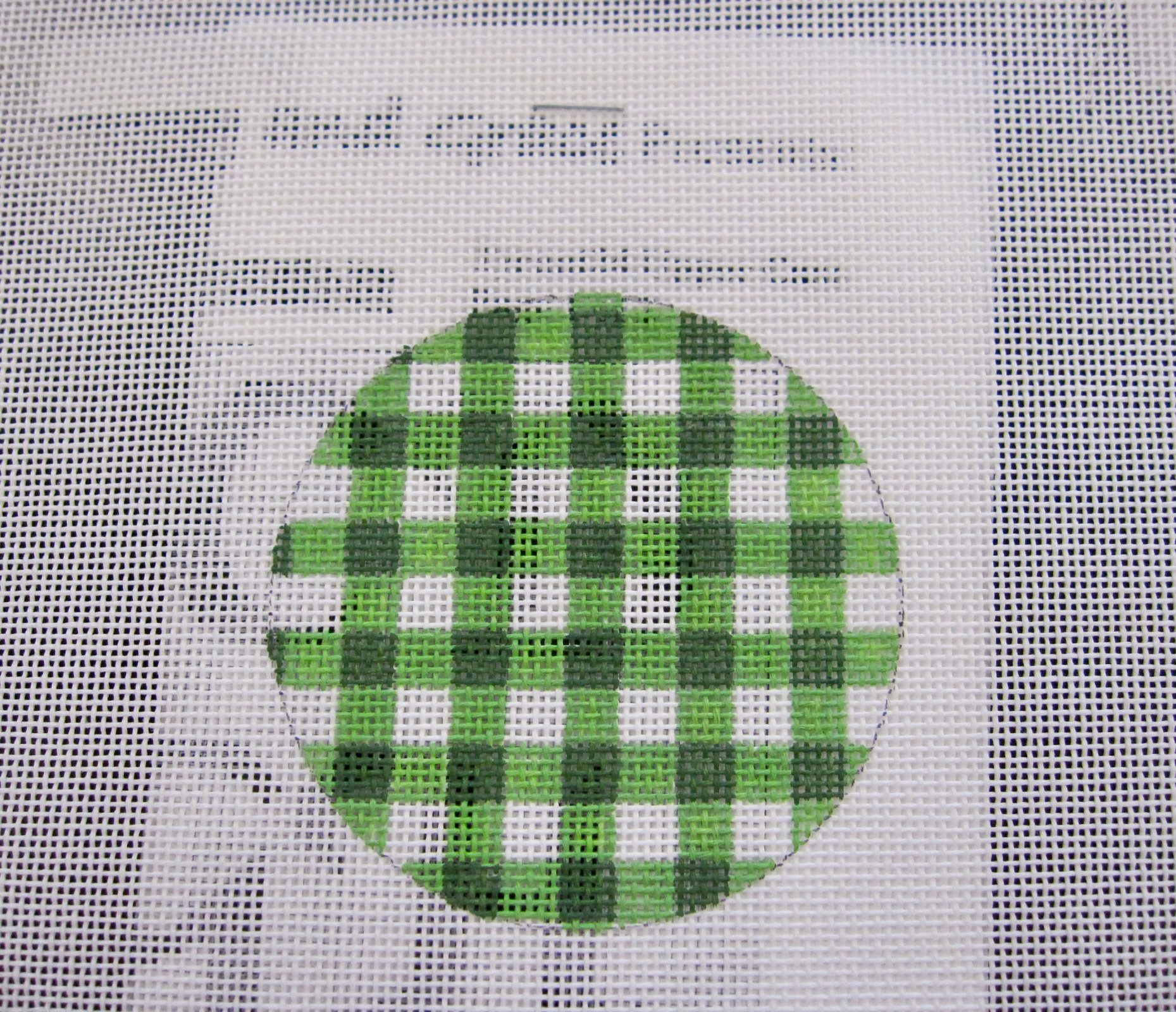 Green Gingham Luggage Tag