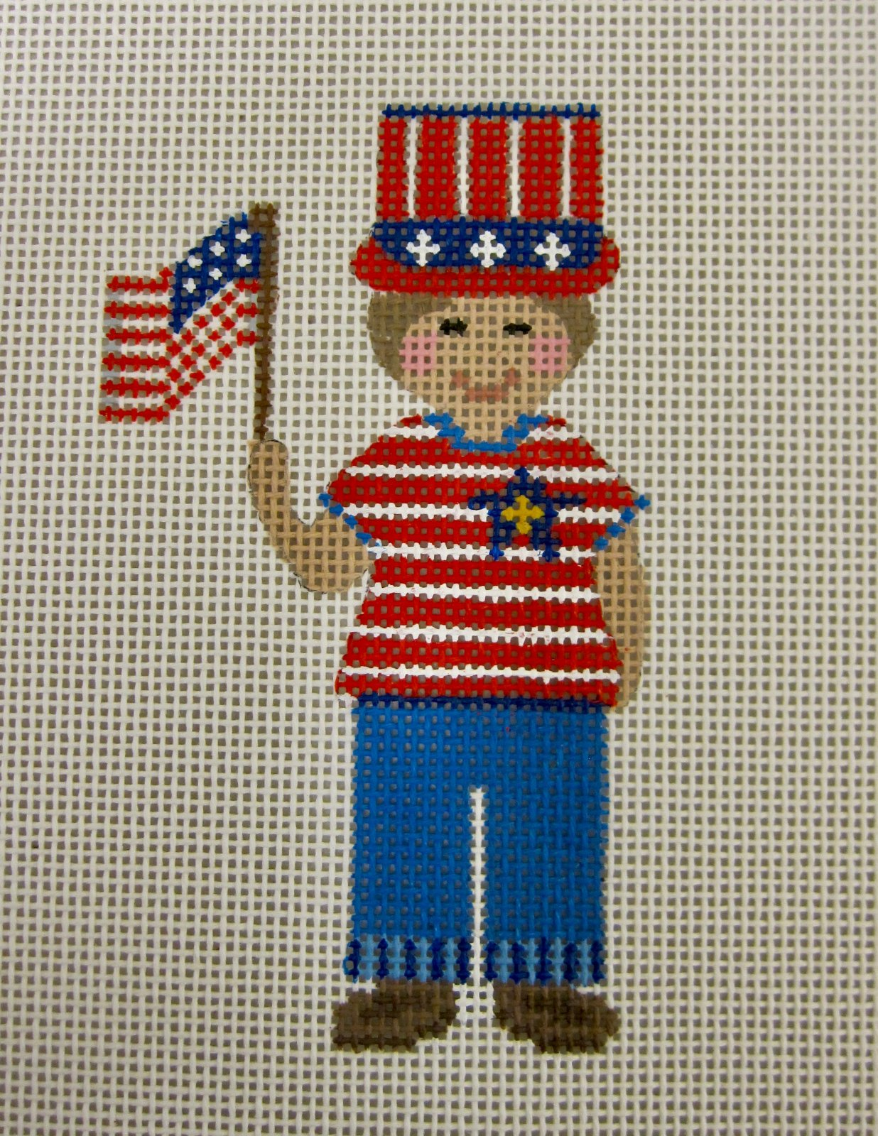 Boy with Flag (w/ stitch guide)