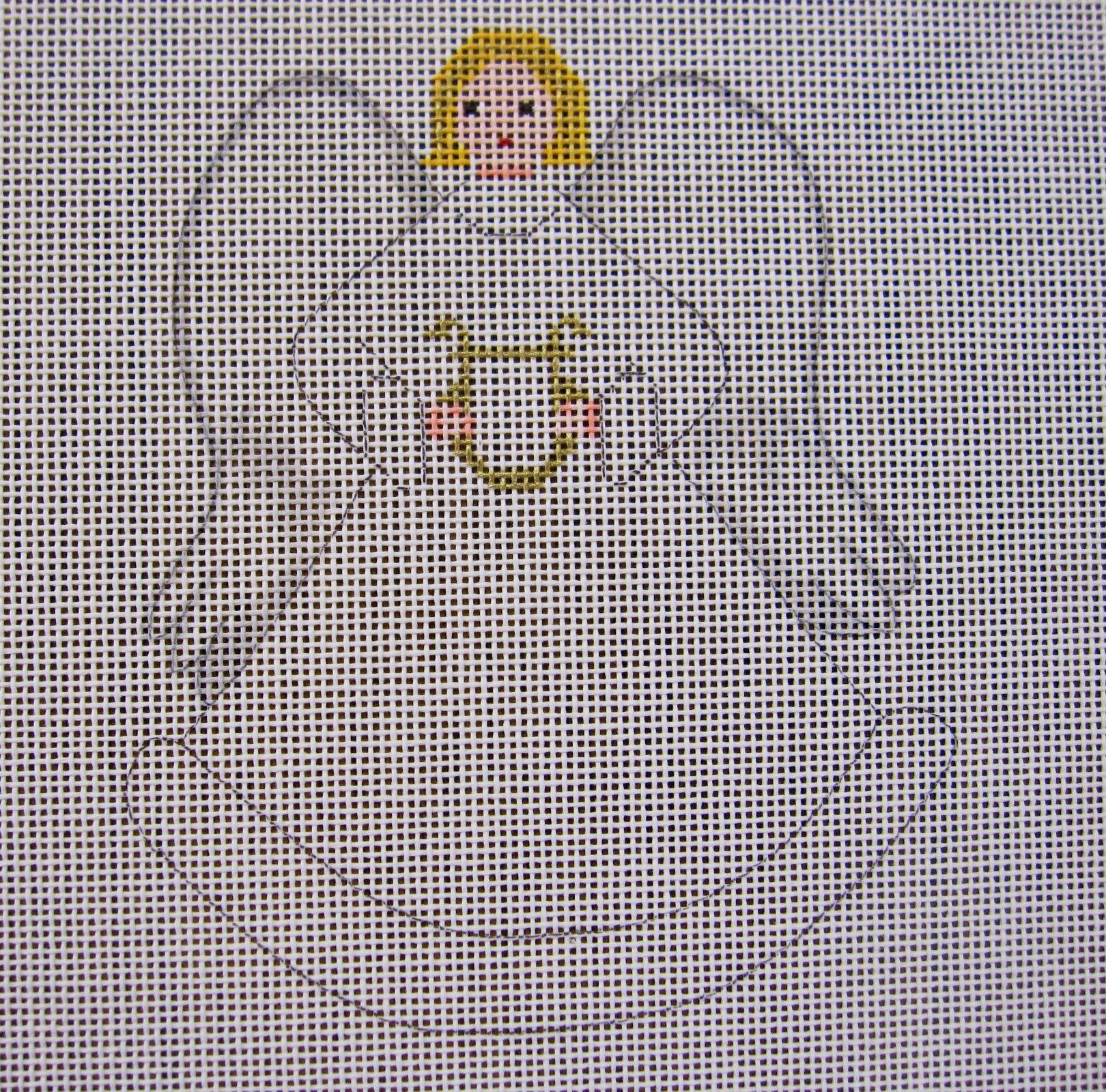 Angel with Harp w/stitch guide