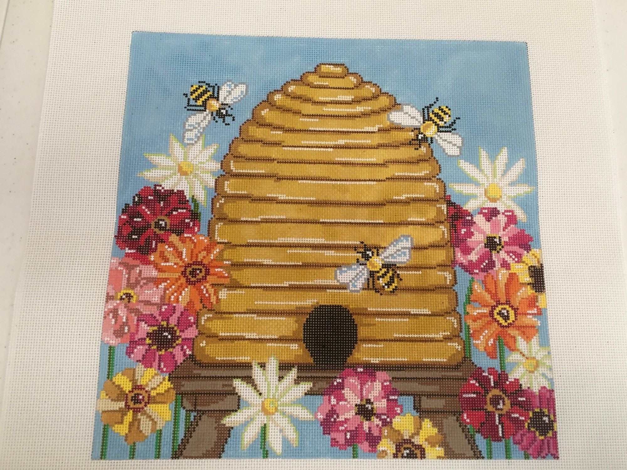 Bee Skep with Zinnias