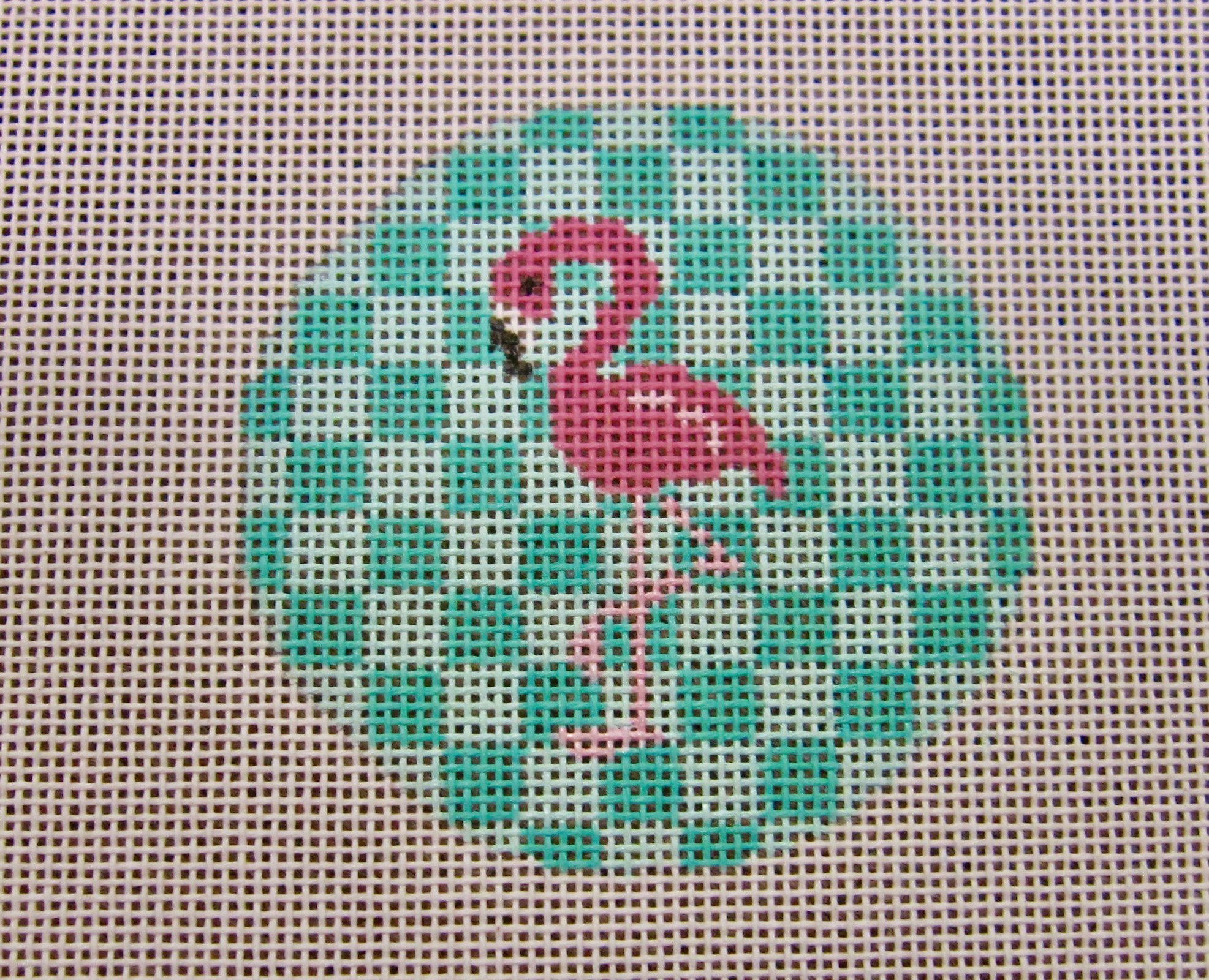 Pink Flamingo on Aqau 3 round