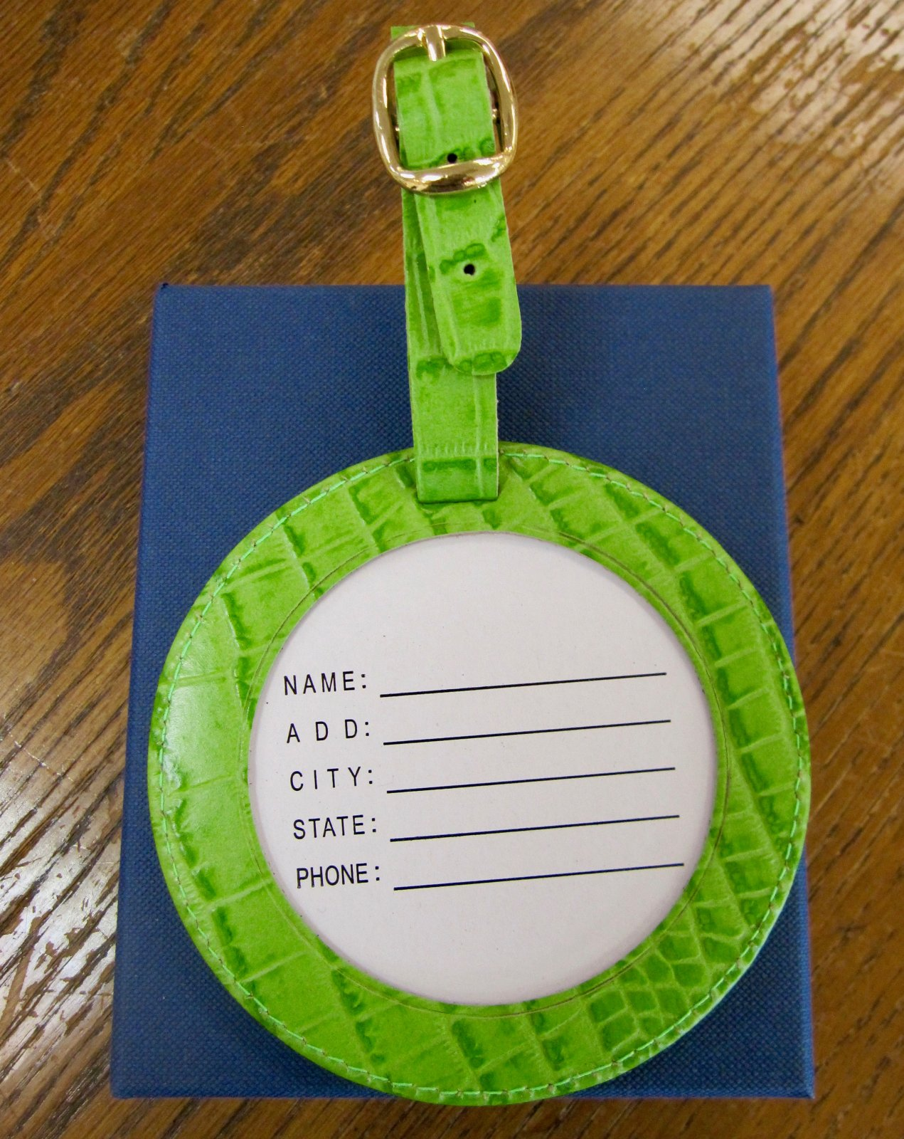 Round Luggage tag - 4 Alligator Green
