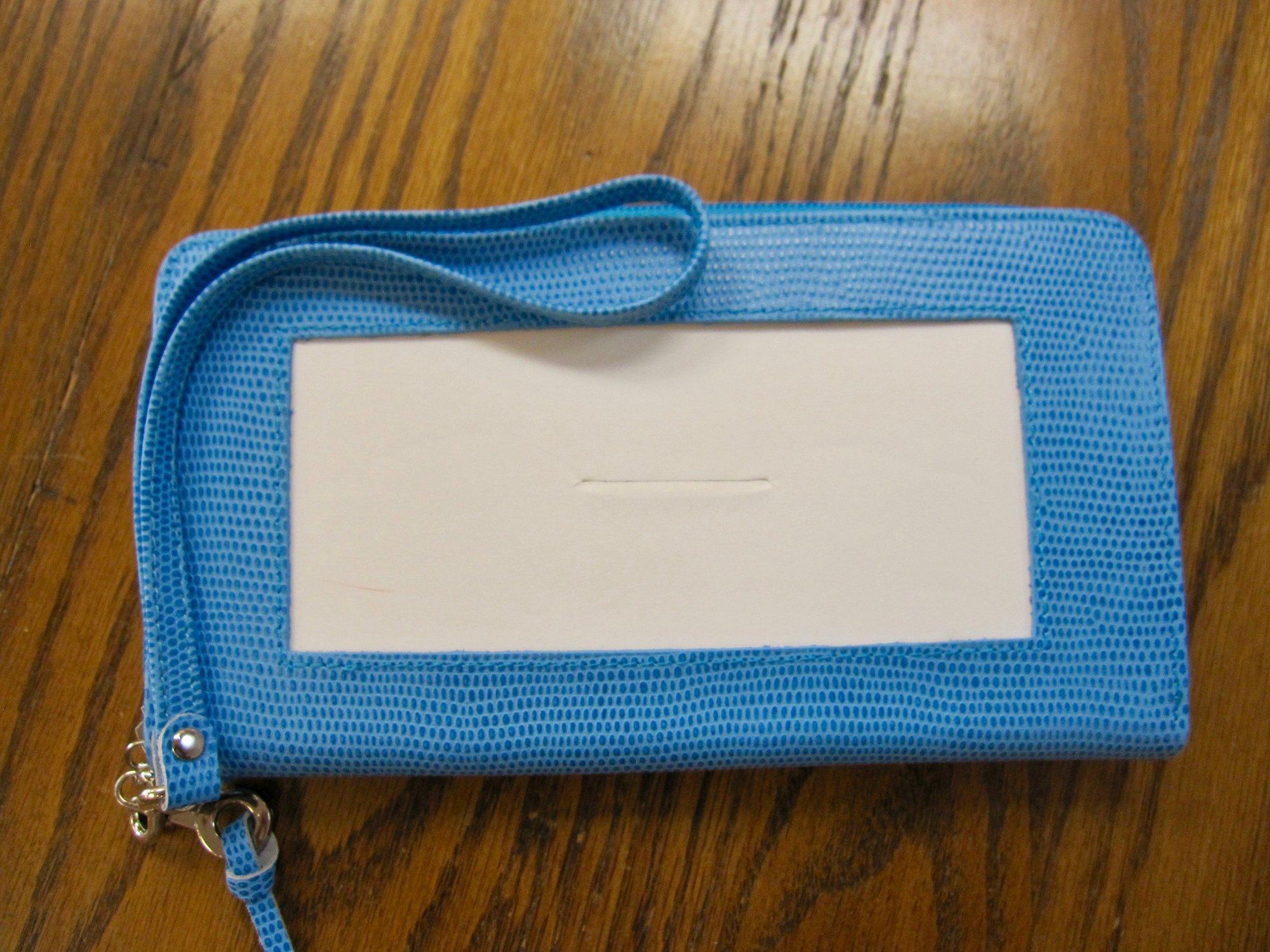 Zip Top Blue Wallet