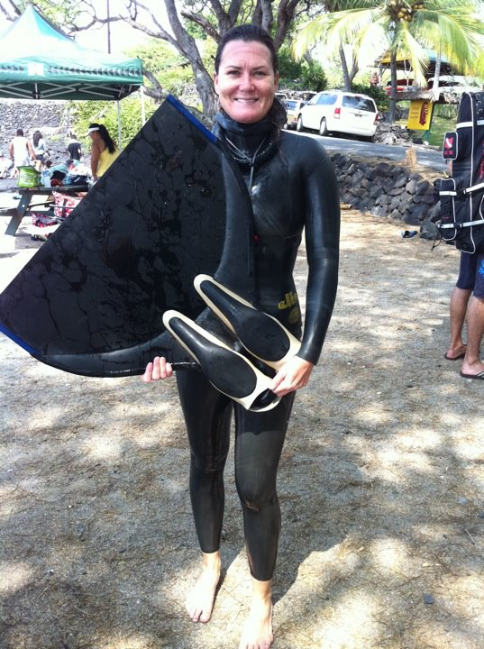 Jessica Wilson Freediving Champion with her mono fin