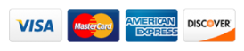 We accept: Visa, Mastercard, American Express and Discover Card