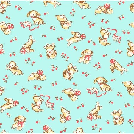 30s Playful Puppies - Aqua Fabric