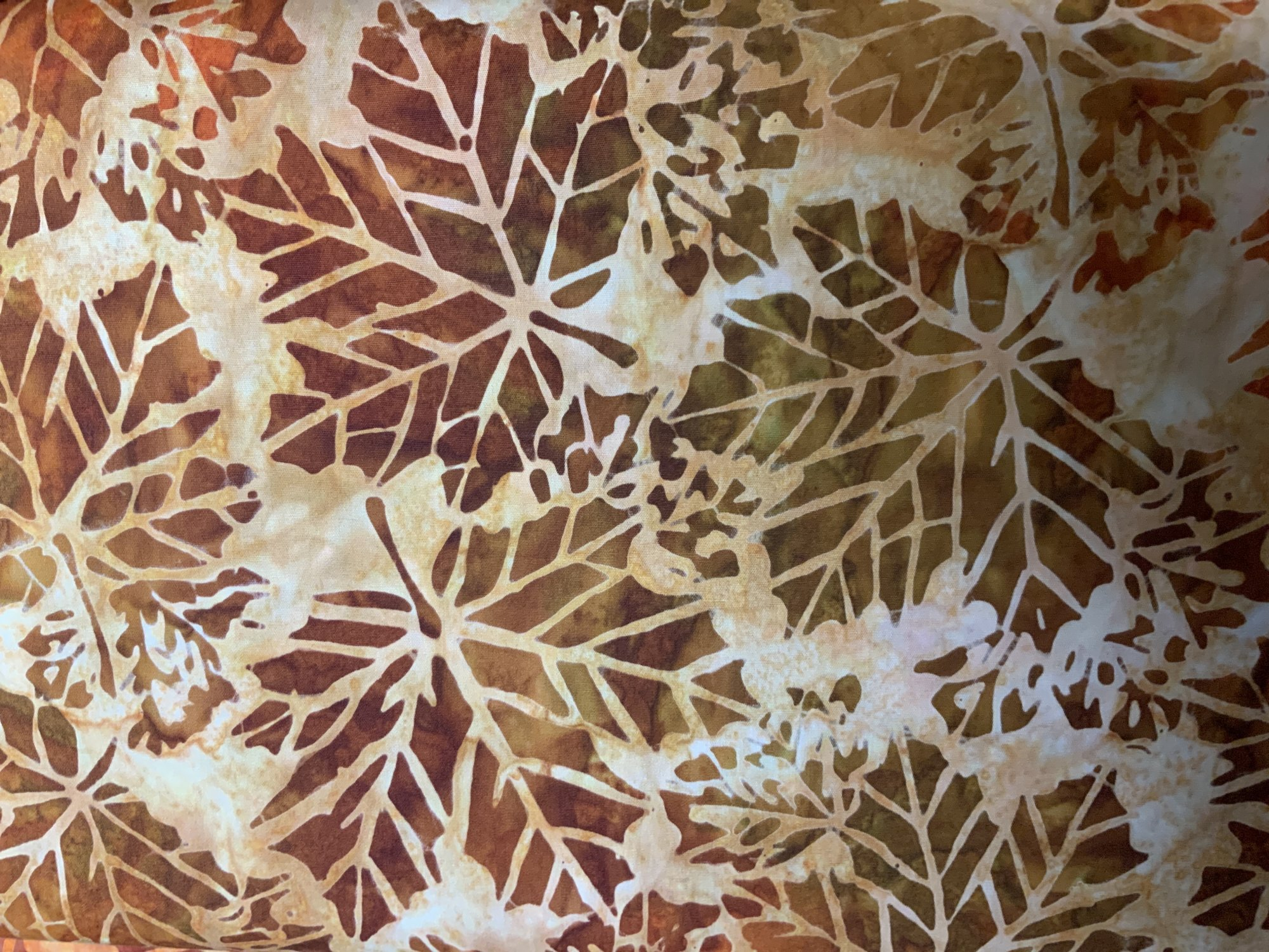 Cornucopia - Large Rust/Brown Leaves on Tan Batik