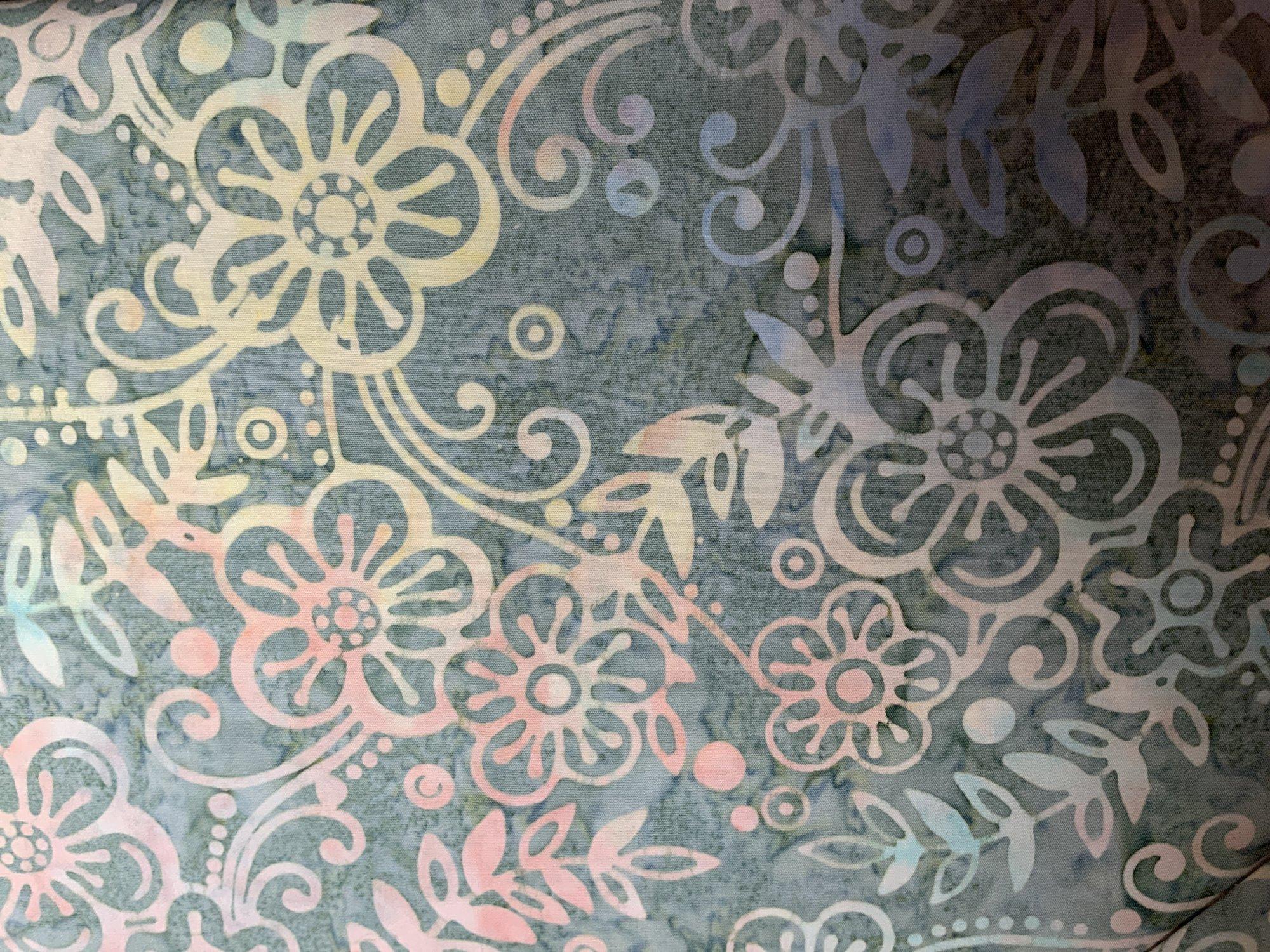 Pastel Floral on Teal Batik