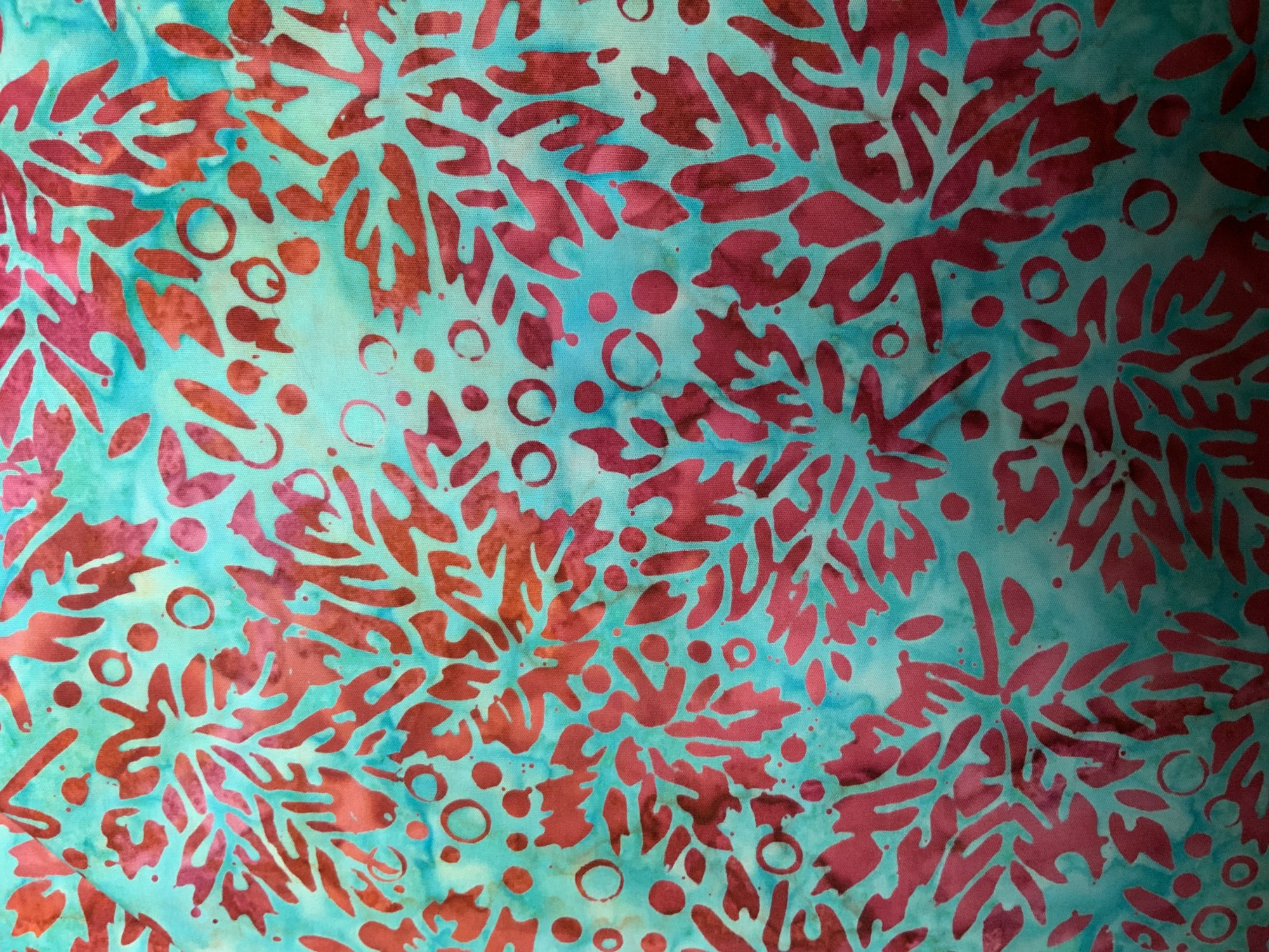 Sunset Blue with Red/Pink Leaves Tiki Batik