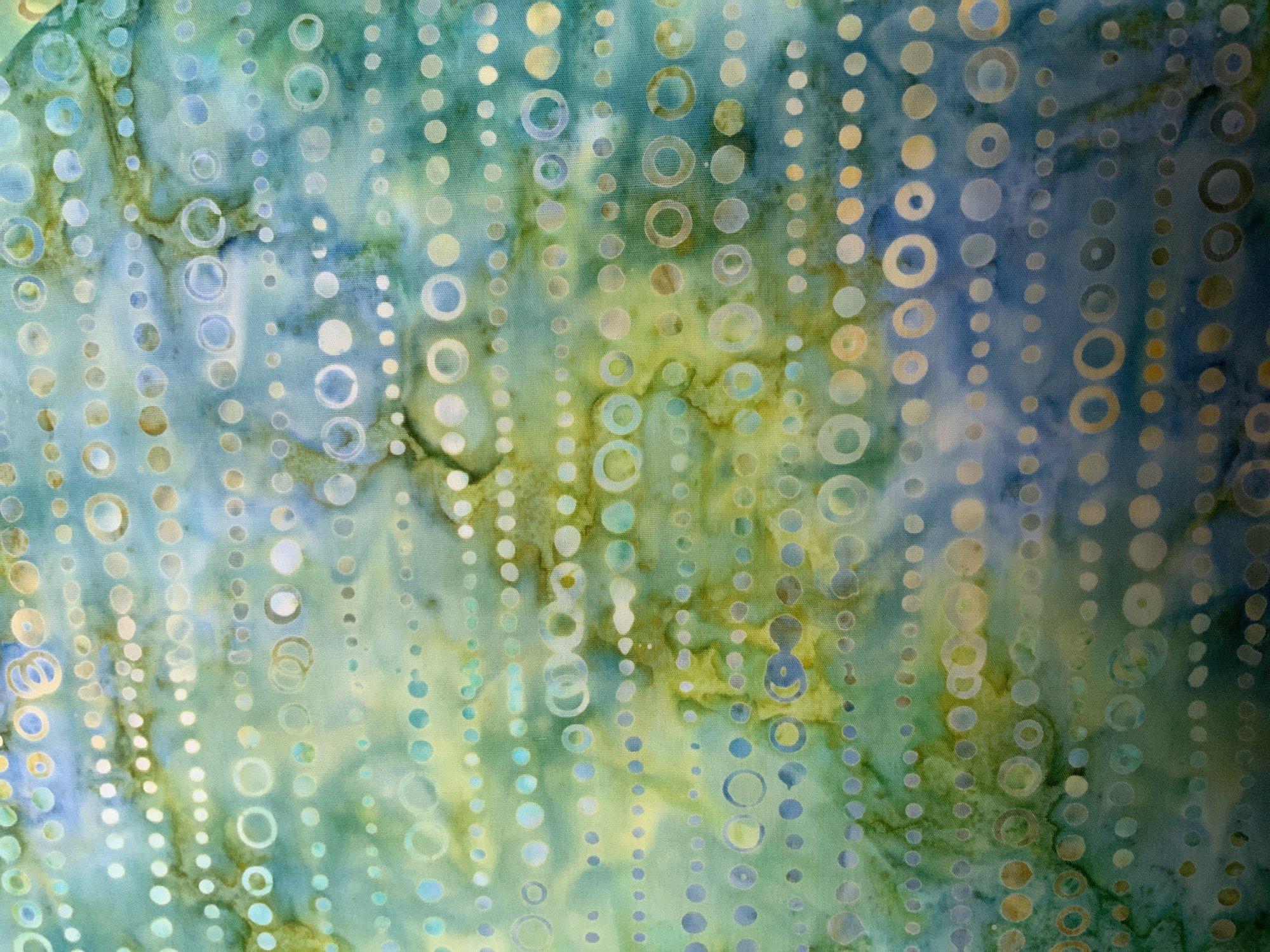 Circle Stripe on Green Blue Batik