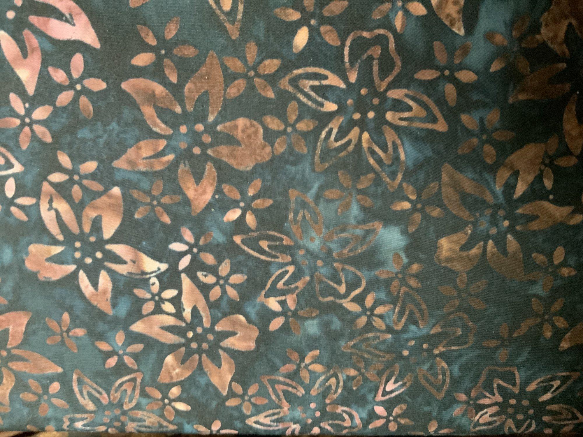 Brown Floral on Blue Batik