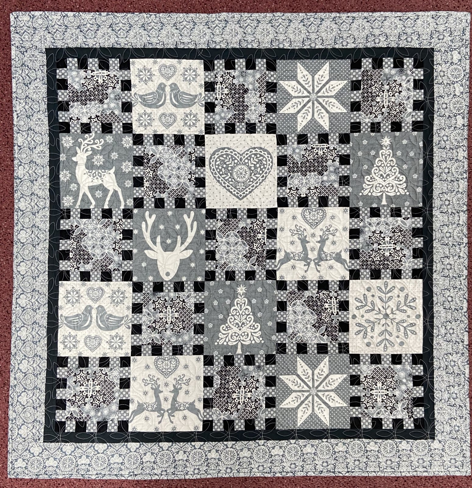 Black and Grey Winter Quilt 41x41