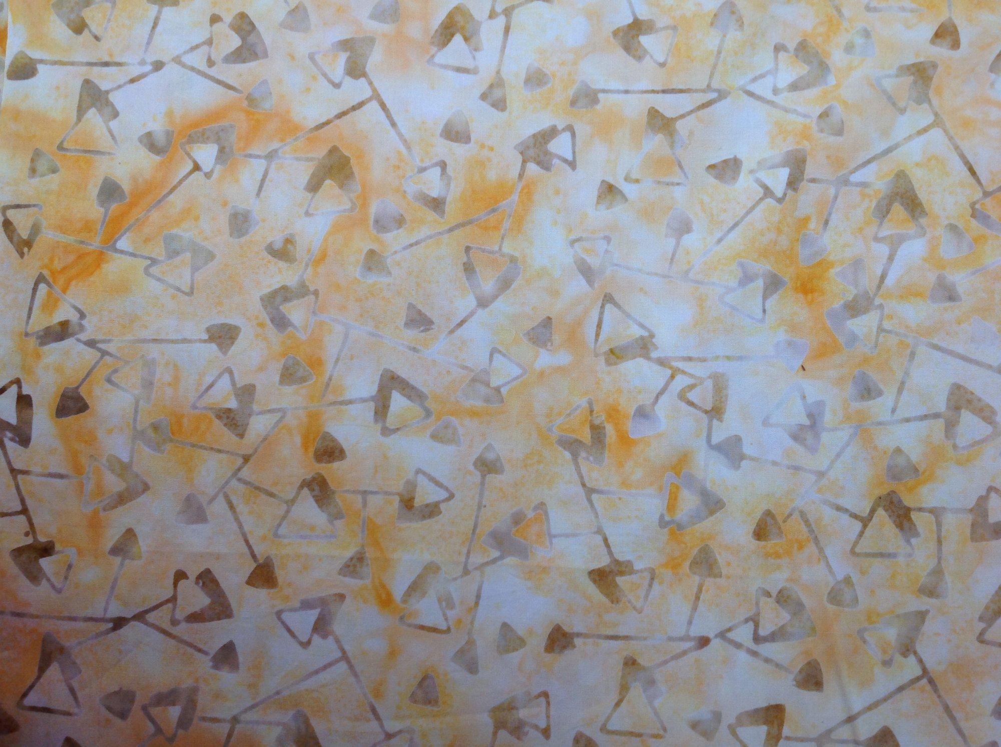 Taupe Triangles on Yellow/Orange Batik