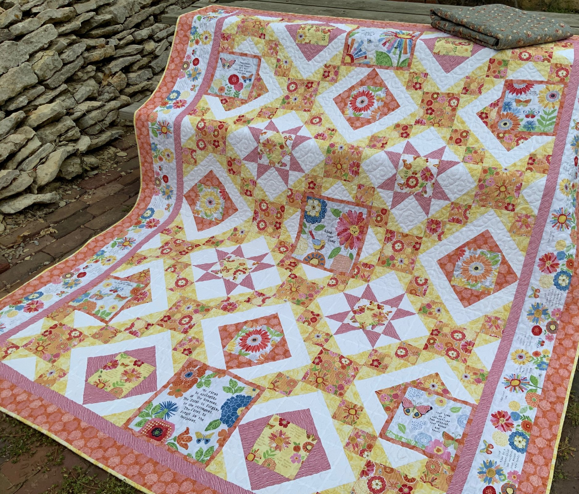 Orange Sing Your Song Quilt 85x93