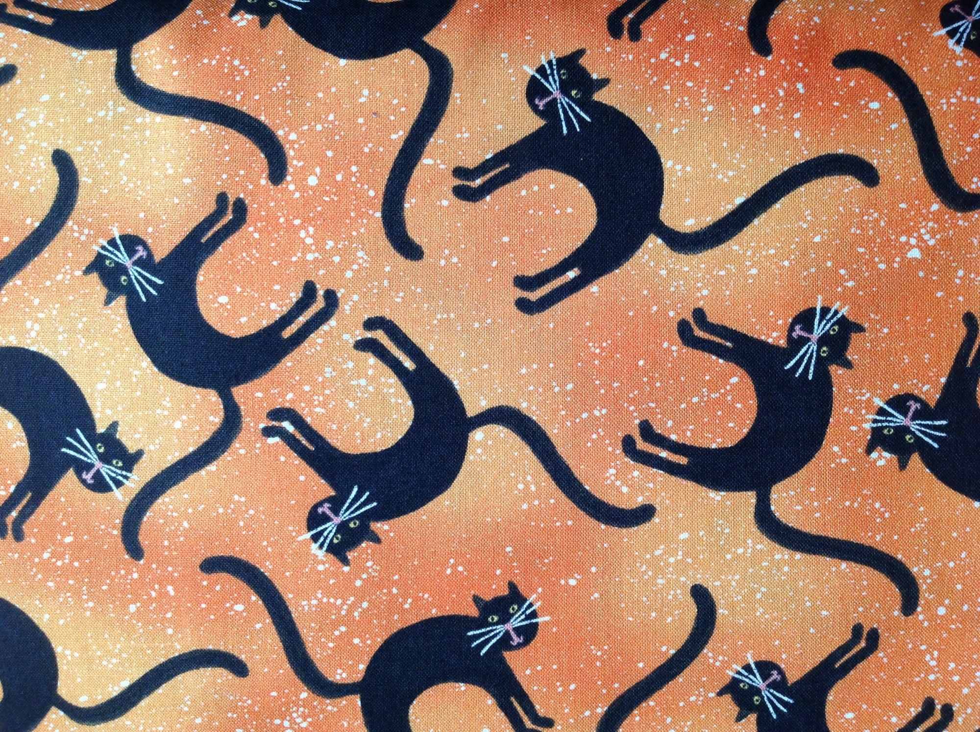 Spooky Vibes Cats on Orange