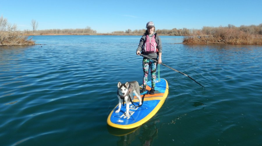 "November SUP essentials: SUP 10'6"" GLIDE Retro, MTI Full vest PFD, NRS SUP booties, Keoni the Siberian Husky."