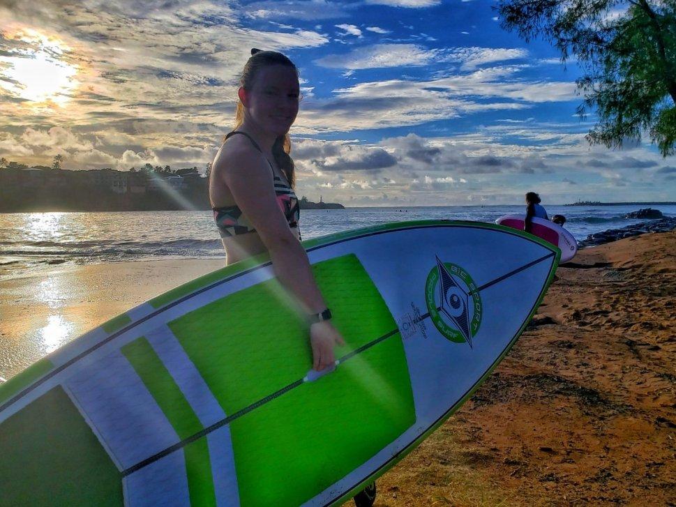 Brittany SUP Surfing Kalapaki Beach Kauai HI
