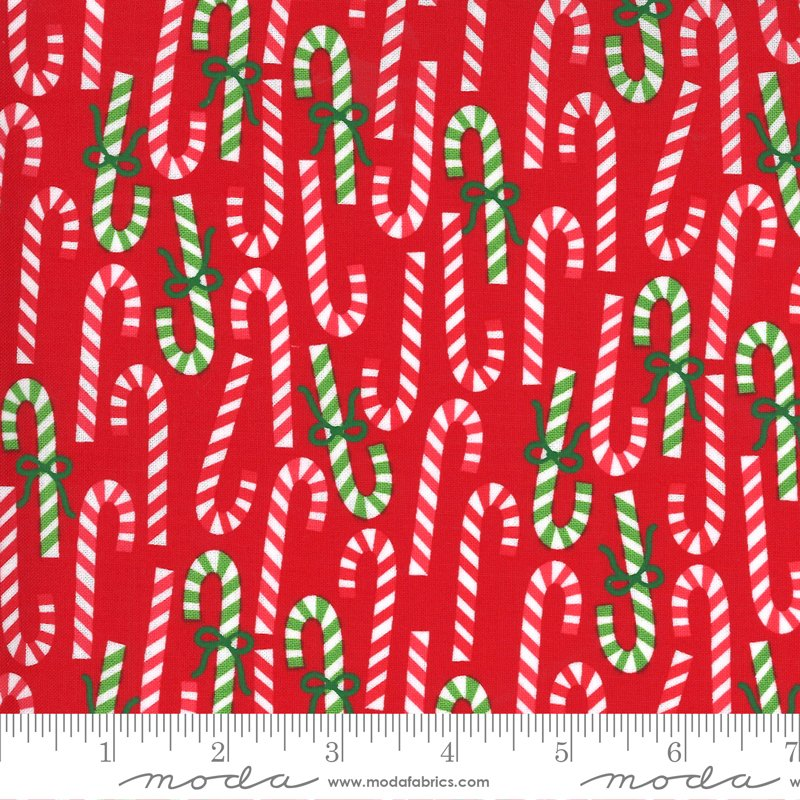 Candy Canes Fabric - Poinsettia Red Merry and Bright Collection by Me & My Sister Designs from Moda Fabrics