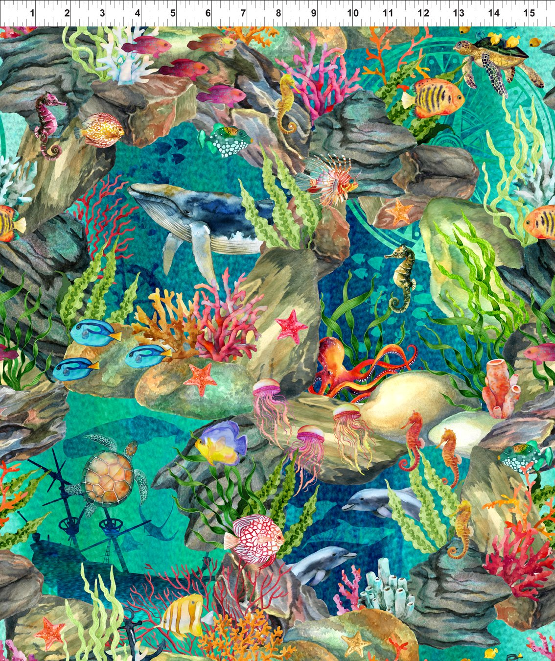 Ocean Life Fabric - Teal Calypso Collection by In the Beginning Fabrics
