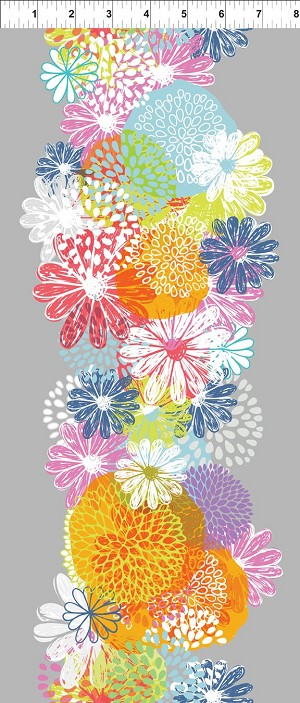 Flower Border Fabric - Multi Doodle Blossoms Collection by In the Beginning Fabrics