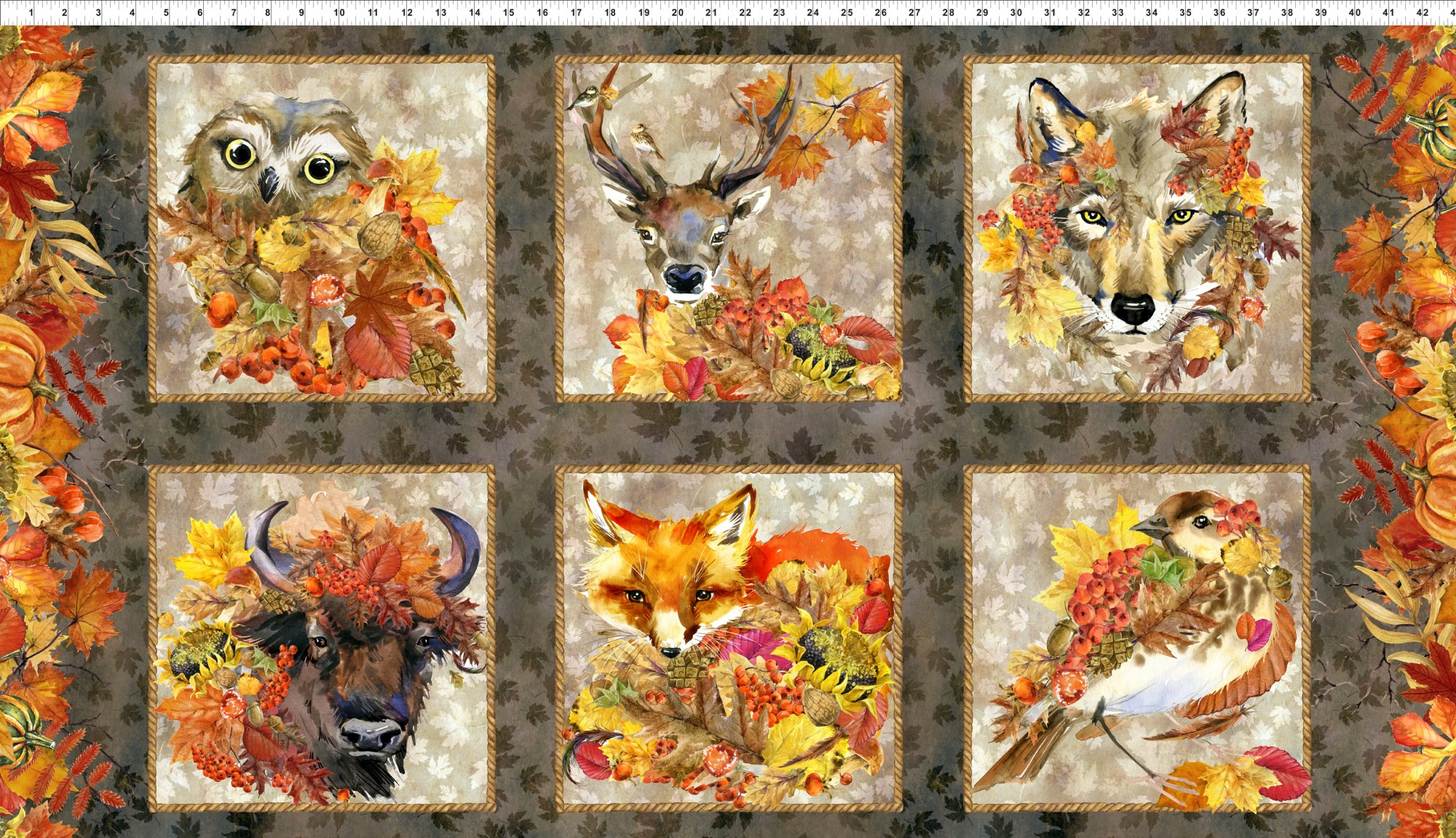 Our Autumn Friends Fabric Panel by In the Beginning Fabrics