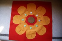 Applique Pieces Pinned onto Background